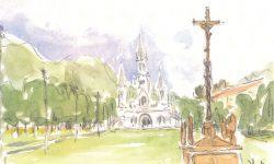 Aquarelle de Jacques Houle c.s.v. - Basilique Notre-Dame-de-Lourdes