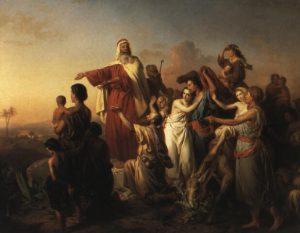 Moïse marche à la tête de son peuple