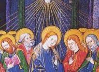 Marie au Cénable avec les apôtres