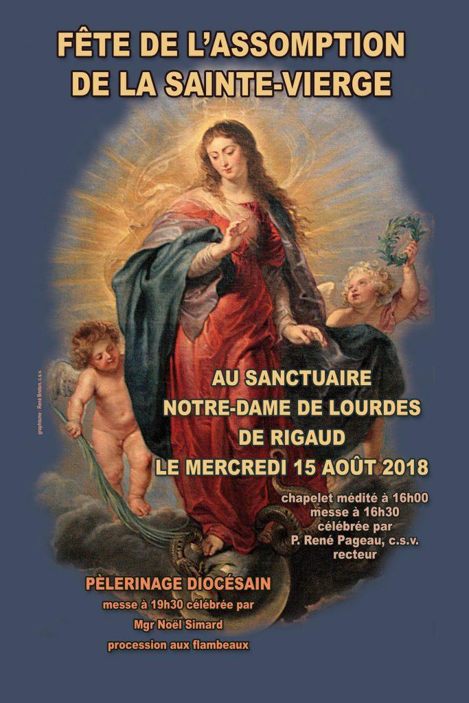 Fête de l'Assomption de la Sainte-Vierge Marie - Le mercredi 15 août 2018