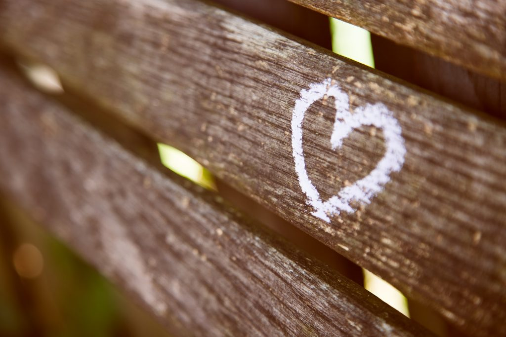 Heart on bench